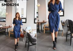 SMD6294 Blue belted denim dress