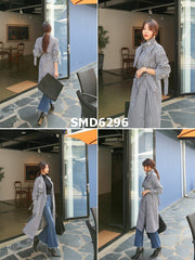 SMD6296 Black check long trench coat