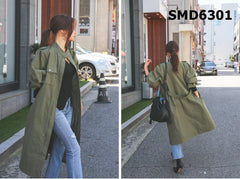 SMD6301 High neck 2 pockets button trench coat