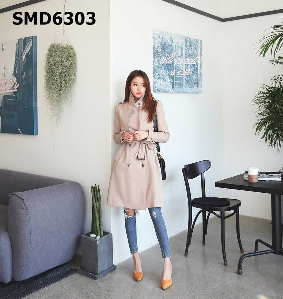 SMD6303 Cape detailed trench coat