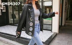 SMD6307 Black back print hollow PU leather jacket