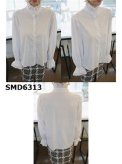 SMD6313 White ruffles neck blouse