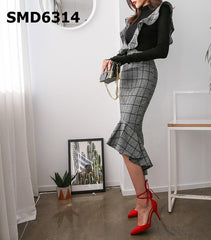 SMD6314 Ruffles suspender check skirt
