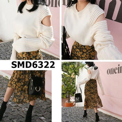 SMD6322 Cut out shoulder sweater