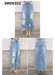 SMD6332 Blue long damaged denim skirt