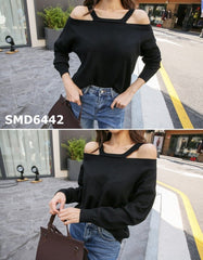 SMD6442 Black sexy shoulder x back lace up sweater