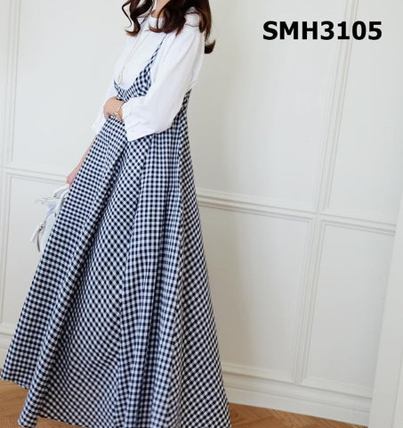 SMH3105 Suspender long check dress