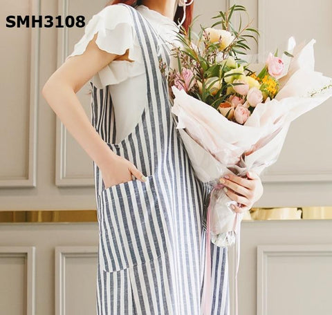 SMH3108 Sleeveless stripe pocket dress