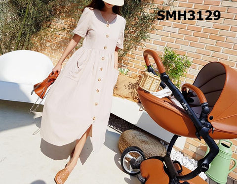 SMH3129 V neck pocket button dress