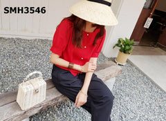 SMH3546 Pearl button blouse