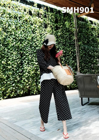 SMH901 (one set) Polka dot top x pants