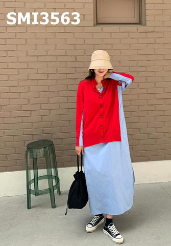 SMI3563 (two-sided) Red x blue shirt dress