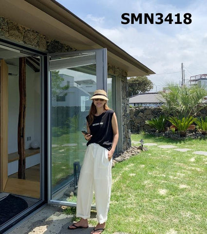 SMN3418 Ivory loose fit pants