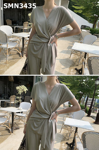 SMN3435 (one set) Grey V neck wrap top x pants
