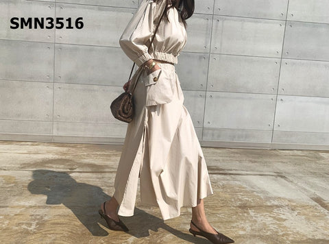 SMN3516 (one set) Beige button up top x flare skirt
