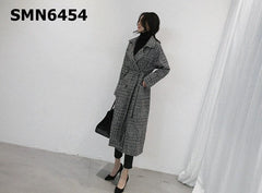 SMN6454 Black houndstooth long jacket
