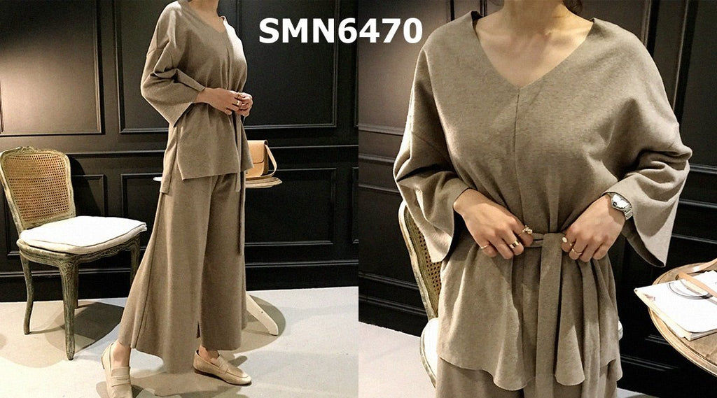 SMN6470 (one set) Beige V neck tied waist top x pants