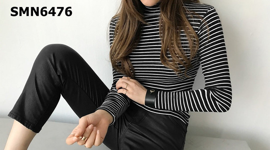 SMN6476 Turtle neck stripe tee