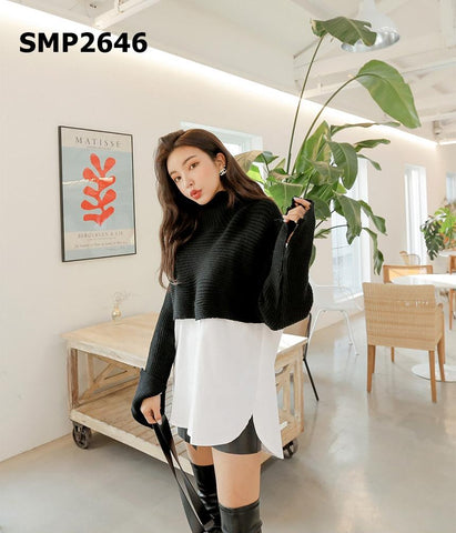 SMP2646 (one set) Turtle neck crop knit x white shirt