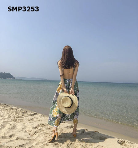 SMP3253 Yellow halter neck floral dress