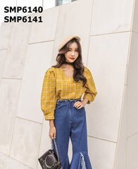 SMP6140 Mustard check blouse