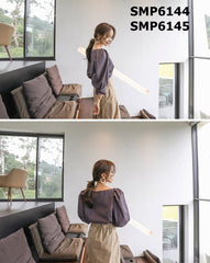 SMP6144 Puff sleeve check blouse