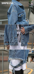 SMP6150 Blue cutout cuff denim jacket