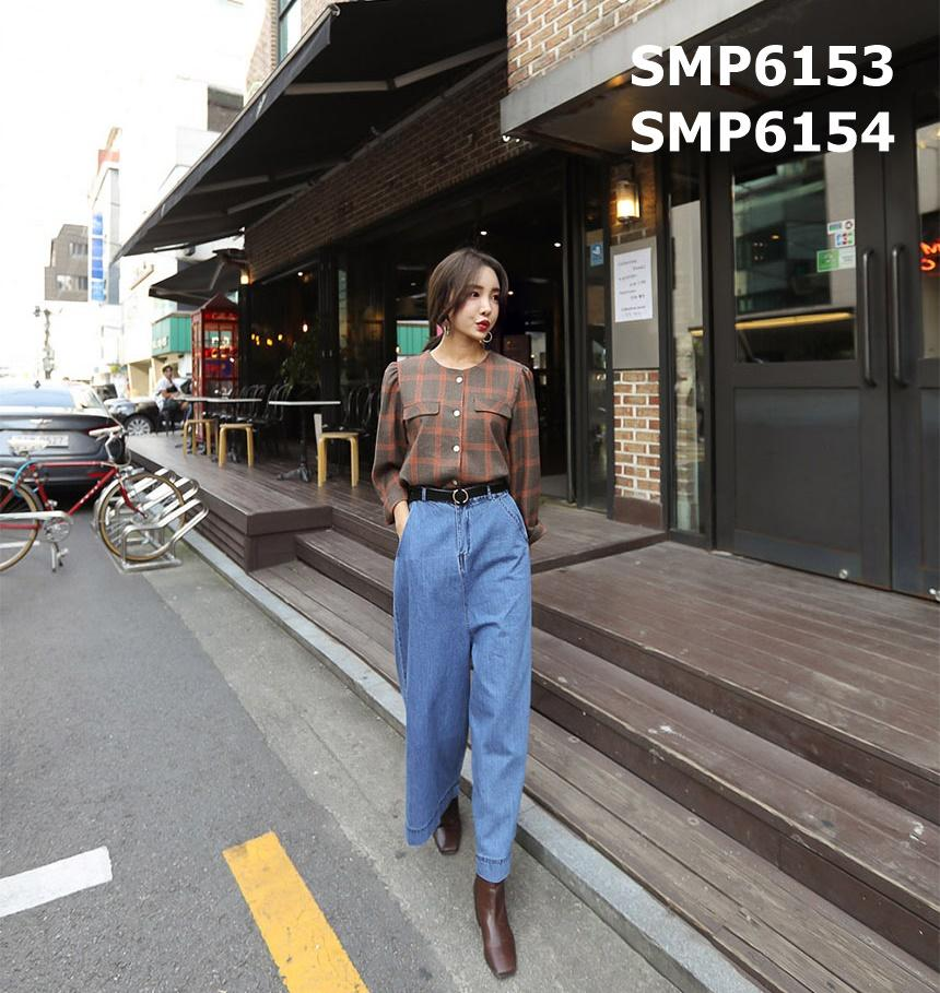 SMP6153 U neck 2 pockets check blouse