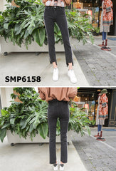 SMP6158 Black grey side stripes jeans