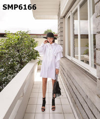 SMP6166 Ruffles sleeve shirt dress