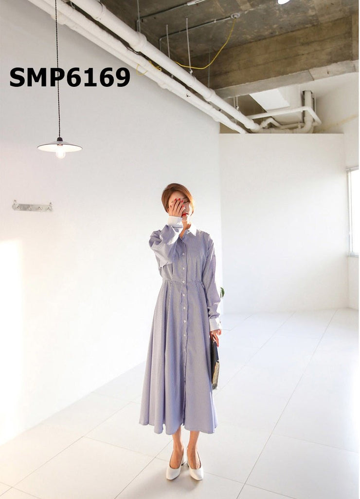 SMP6169 White collar long stripe dress