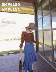 SMP6180 Cross strap stripe top
