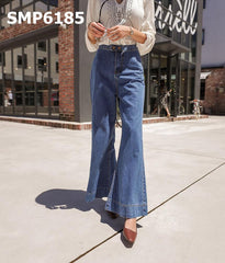 SMP6185 Blue high rise boot cut jeans