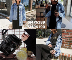 SMP6189 Blue contrast length denim jacket