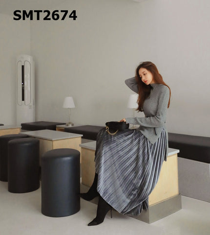 SMT2674 (one set) Knit top x pleated skirt