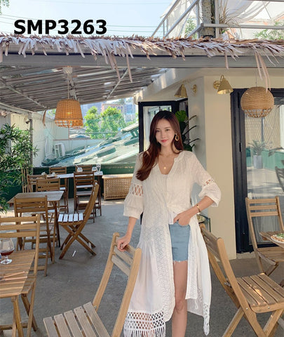 SMT3263 Ivory embroidery long cardigan