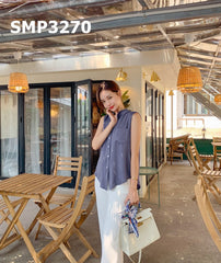 SMT3270 Navy sleeveless pocket blouse