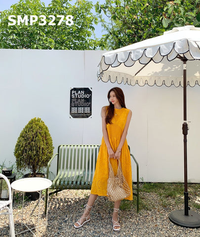 SMT3278 Orange sleeveless embroidery dress