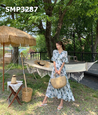 SMT3287 Palm tree print dress