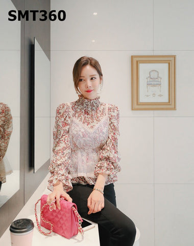 SMT360 (one set) see through lace vest x floral blouse