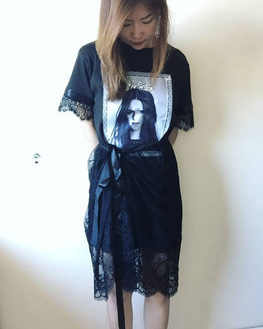 SY1289	(one set) Girl print long tee x see through lace dress