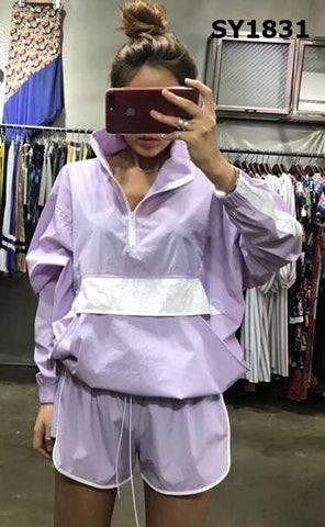 SY1831 (one set) Purple jacket x shorts