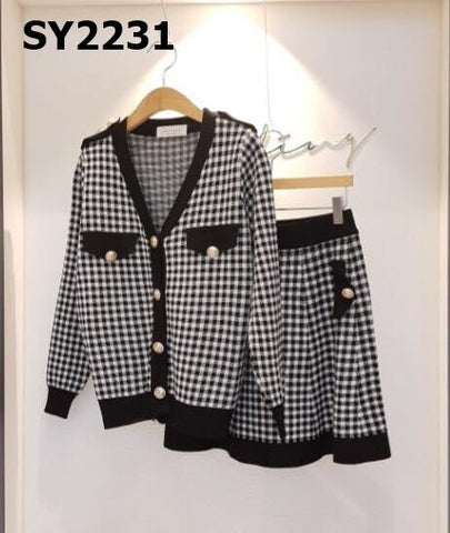 SY2231 (one set) Houndstooth cardigan x skirt