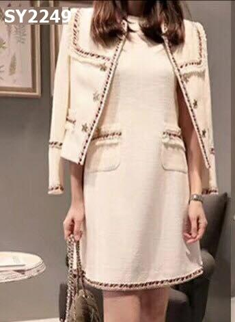 SY2249 (one set) Beige tweed jacket x dress