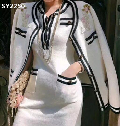 SY2250 (one set) White floral cardigan x dress