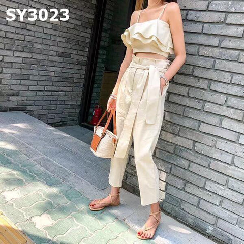 SY3023 (one set) Beige ruffles top x pants