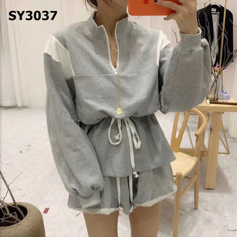 SY3037 (one set) Grey zip up sweatshirt x shorts