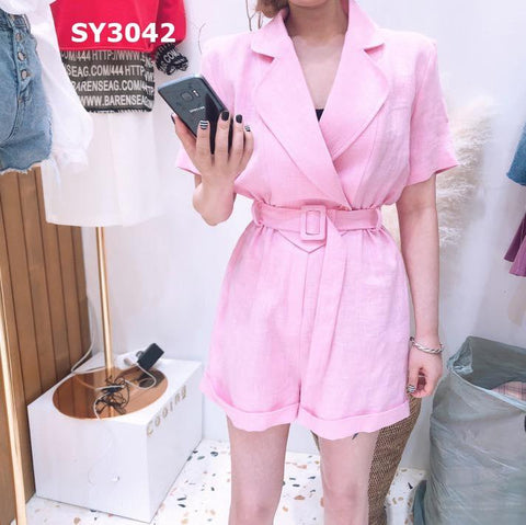 SY3042 Short sleeve jumpsuit with belt