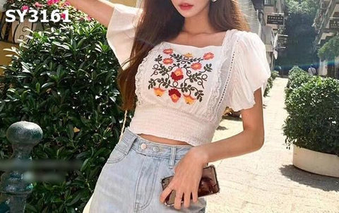 SY3161 White embroidery floral print blouse