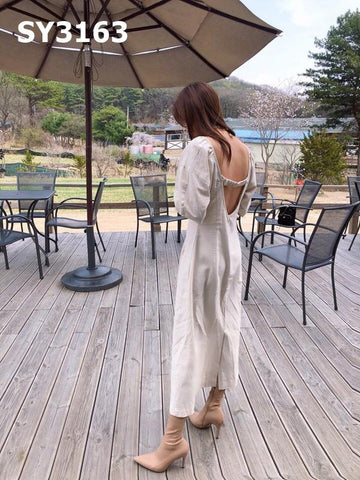SY3163 Beige back low cut long dress